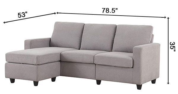 HONBAY Convertible Sectional Sofa Couch Dims