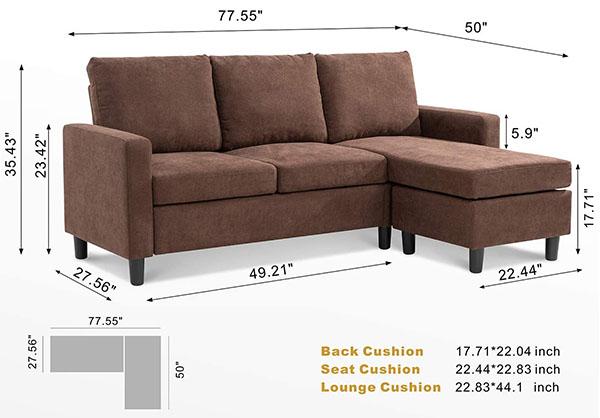 Walsunny Convertible Sectional Sofa Dims