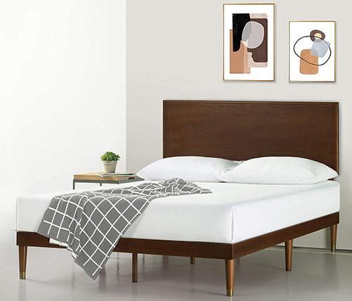 Zinus Deluxe Mid-Century Wood Platform Bed
