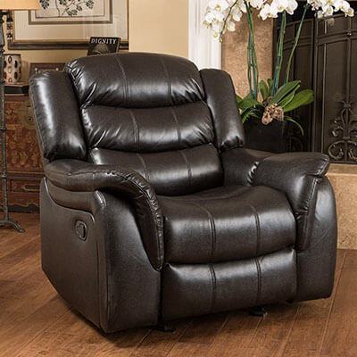 Great Deal Furniture Merit Heavy Duty Black Leather Recliner