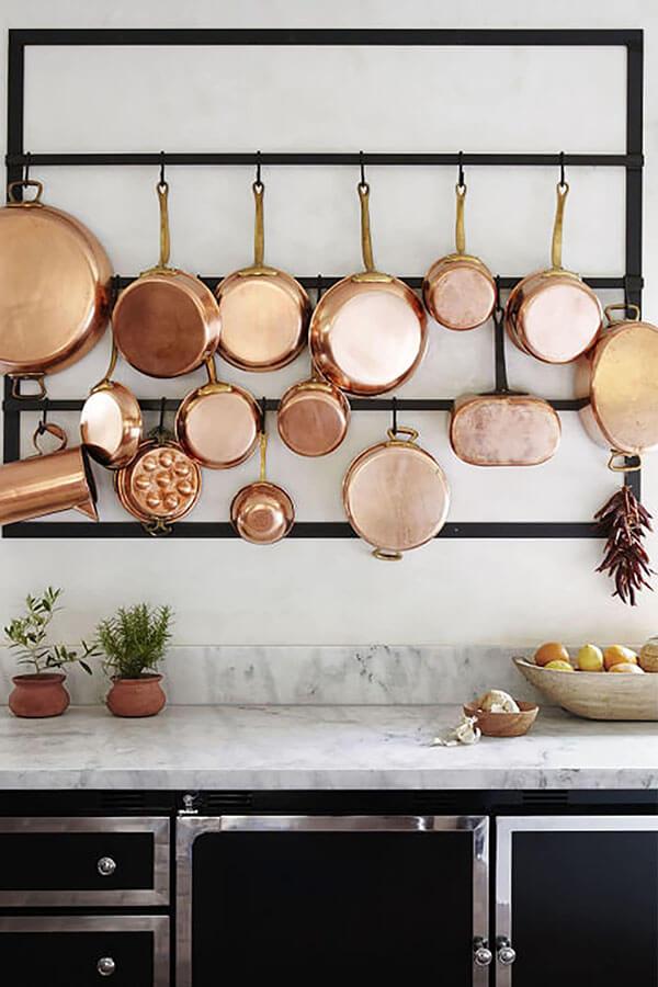 pot rack with windowless kitchen sink