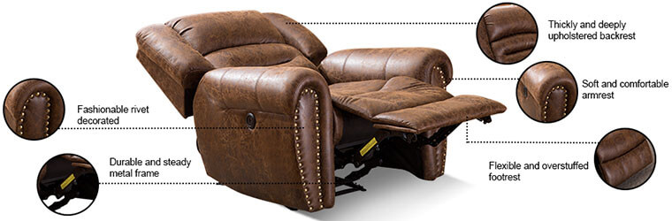 ANJ Electric Leather Recliner Chair - side