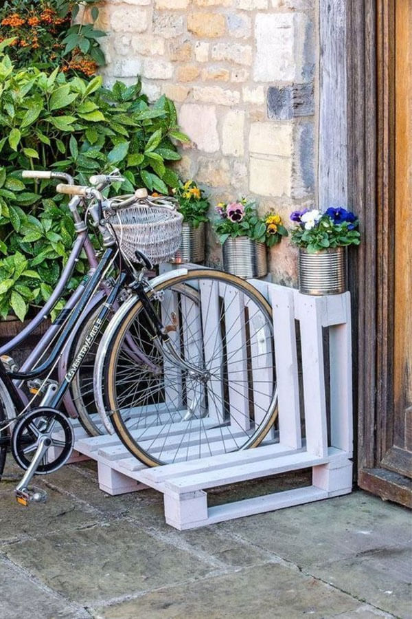 Bike Rack Made of Wooden Pallets