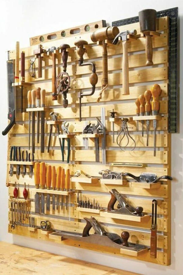 Wooden Pallet Tool Storage Garage Wall