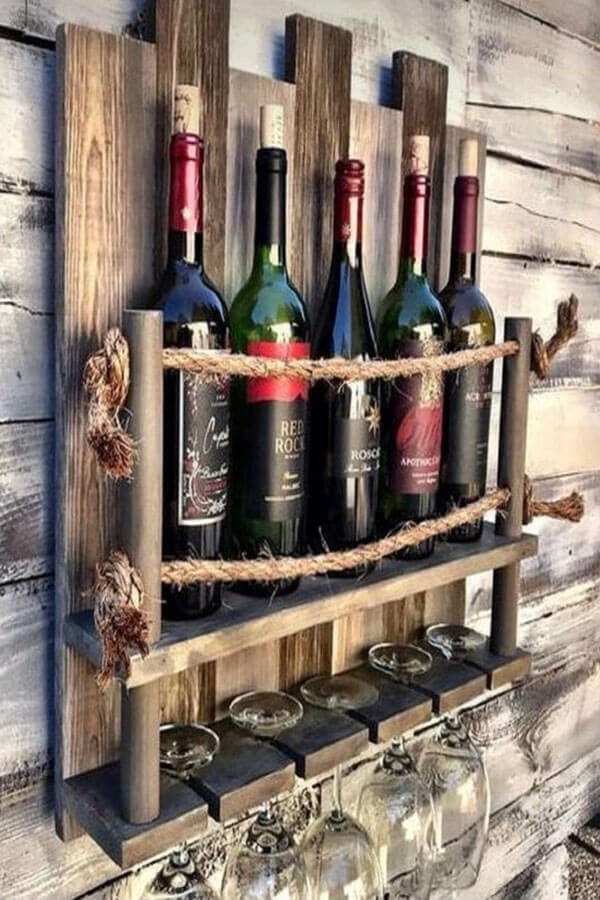 Wine Rack Made of Wooden Pallets